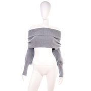 Grey Ribbed Shrug Scarf or Shawl w/ Cuffs One Size