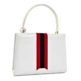 White leather vintage Gucci hard handbag satchel