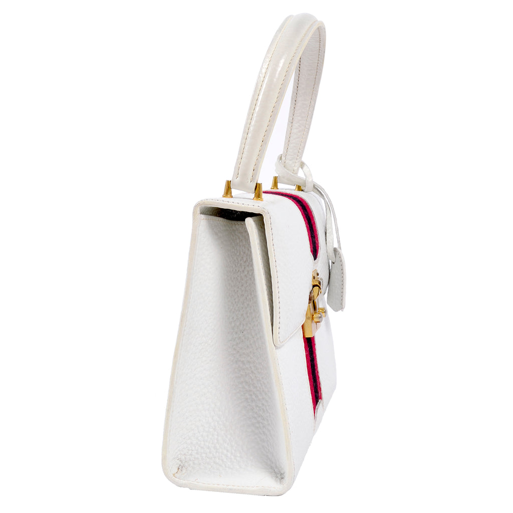 1960's White leather Gucci Kelly Handbag