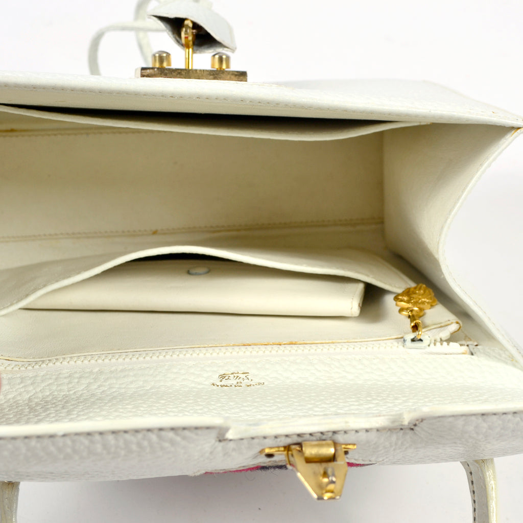 1960's White Gucci Handbag with Mirror and padlock