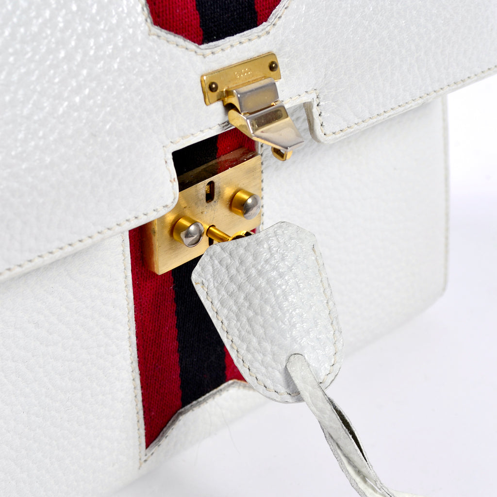 Key lock vintage Gucci handbag white leather