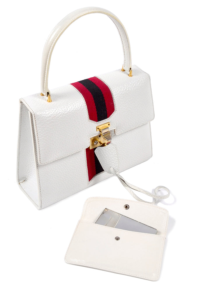 White Gucci satchel handbag top handle