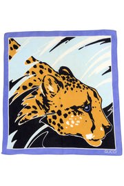 Gucci Vintage Blue Black and Gold Cotton Square Cheetah Scarf 19""