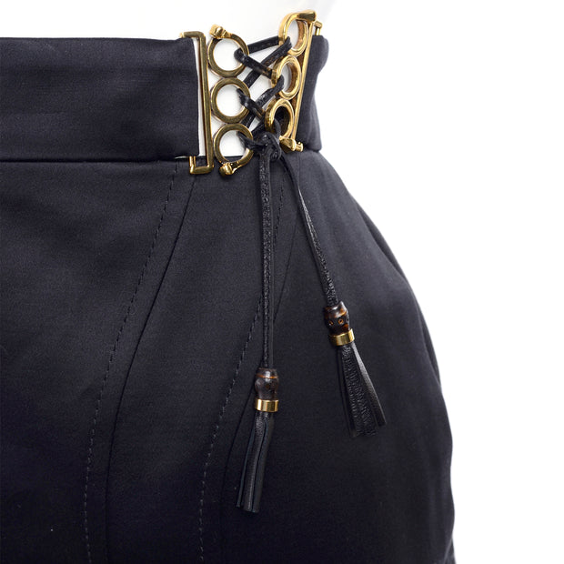 2011 Gucci Black Pencil Skirt W Gold Buckles & Leather Tassels Deadstock