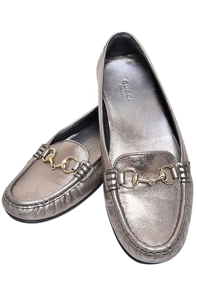 a558b7c06f8 Gucci Womens Metallic Loafer Driver Shoes with Horse Bit Buckles ...
