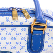 Vintage Gucci Handbag Monogram Boston Bag in Bright Blue & White W/ Script Logo