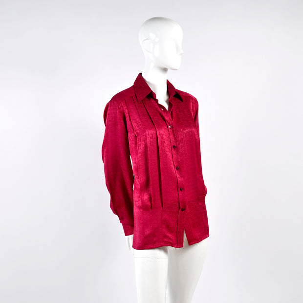 Red silk pleated Gucci blouse