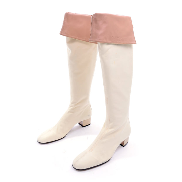 S/S 2004 Gucci by Tom Ford White Canvas & Leather Over Knee Boots 9