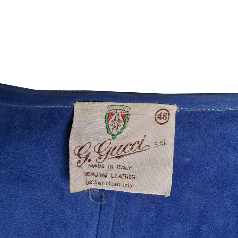 1970's G. Gucci Label on Vintage Blue Suede Leather Top