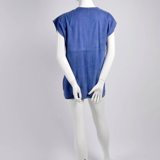 Sleeveless Blue Suede Vintage Gucci Top