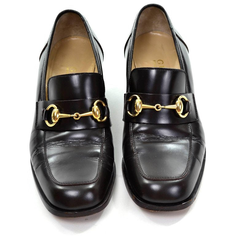 Gucci size 7.5 brown leather loafers with gold horsebit and block heel