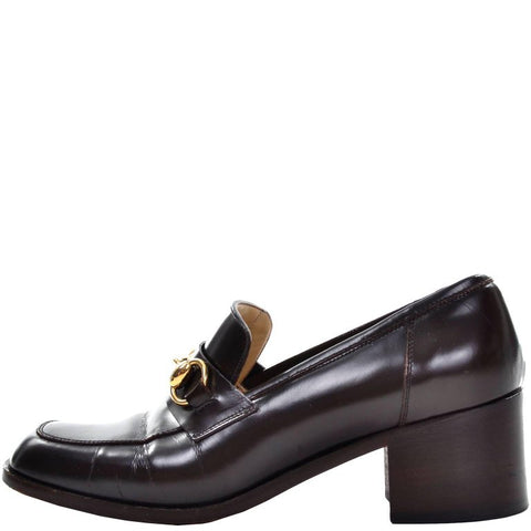 Horsebit brown leather loafers with block heel by Gucci - Vintage size 7.5