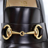 Gucci gold horsebit hardwear on vintage brown leather loafers size 7.5