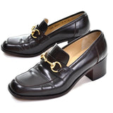 Brown heel loafers by Gucci - size 7.5 with gold horsebit hardwear and block heel