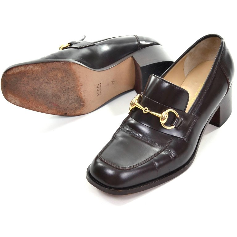 Gucci size 7.5 dark brown leather loafer vintage shoes with block heel and gold horsebit