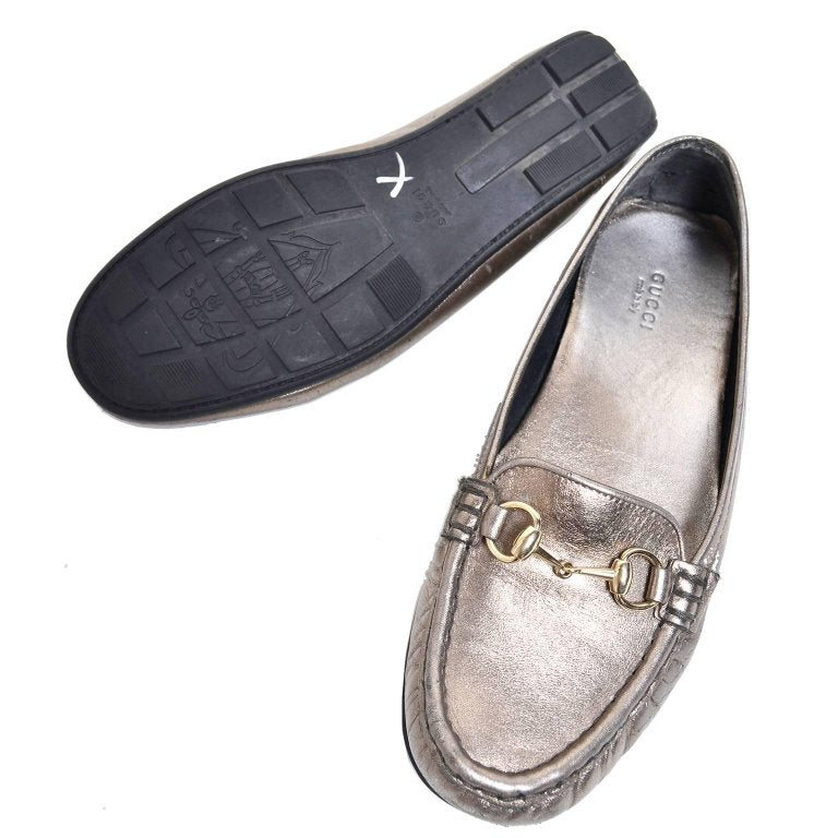 Metallic Gold Silver Gucci Loafers 7.5