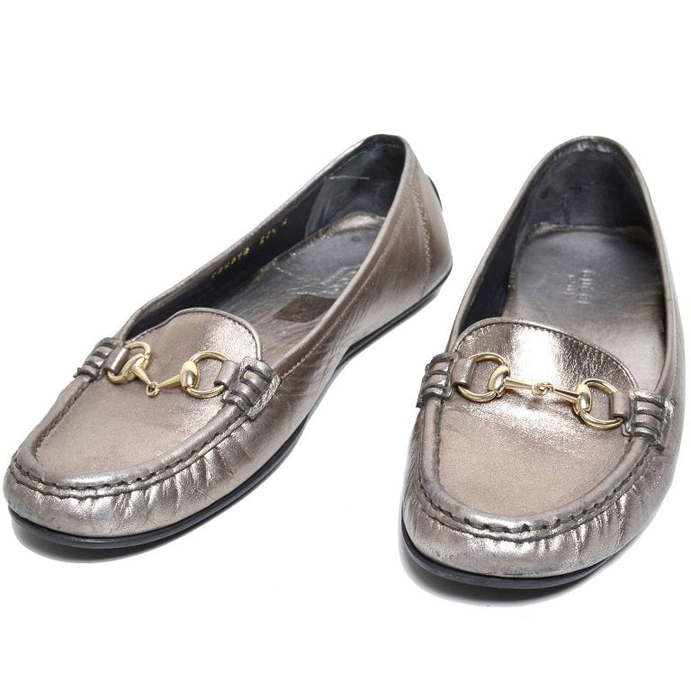 Size 7.5 Gucci Loafers Metallic Gold Silver
