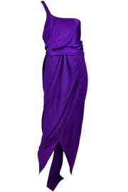 Purple Halston Vintage Dress One Shoulder