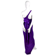 Purple Jersey Halston Vintage Dress One Shoulder