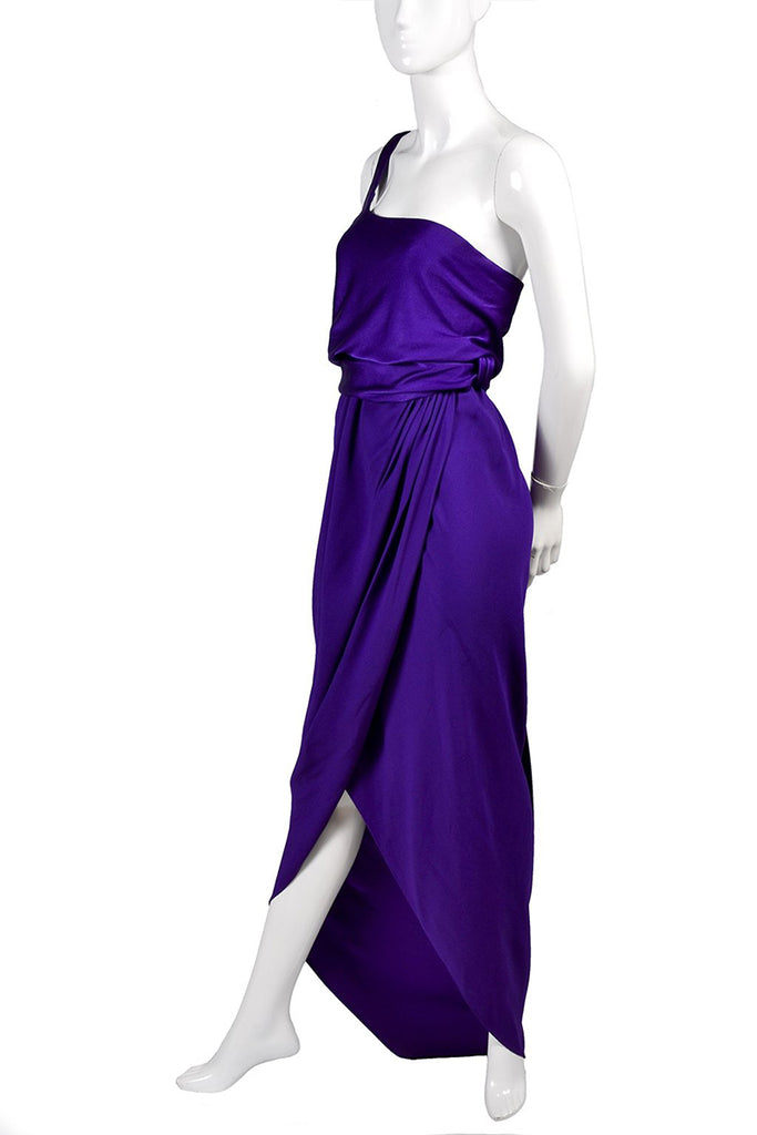 Purple Jersey Halston Vintage Dress Grecian Style One Shoulder