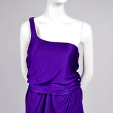 Purple Jersey Halston Dress One Shoulder