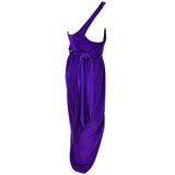Purple Halston Vintage Dress One Shoulder Gown