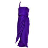 Purple Jersey Vintage Halston Dress Off Shoulder