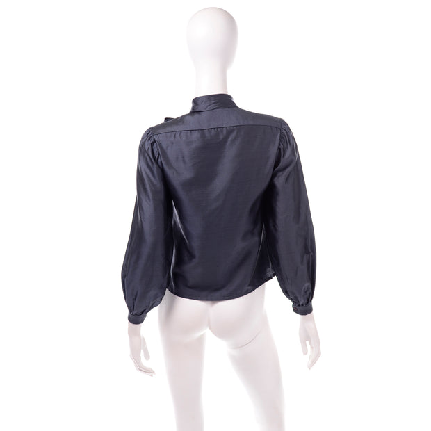 Halston Vintage 1970s Blue Bow Blouse Long Sleeve