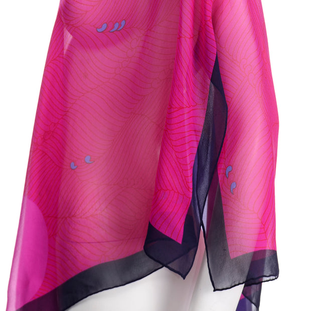 Abstract Hanae Mori Vintage Pink & Purple Silk Chiffon Poncho Style Top