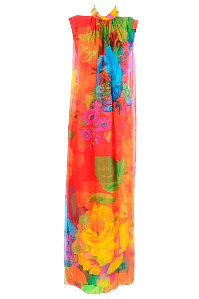 Hanae Mori 1960's Floral Silk Chiffon Dress