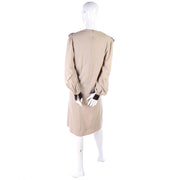Vintage Hanae Mori Tan & Brown Dress w/ Large Pleated Pilgrim Collar 8