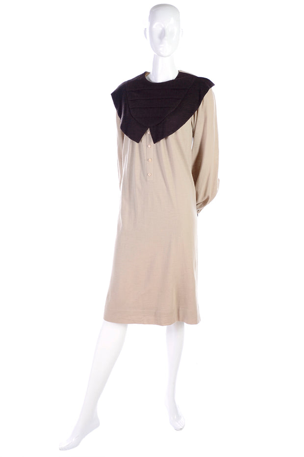 1980s Hanae Mori Two Tone Neutral Dress w/ Exaggerated Collar