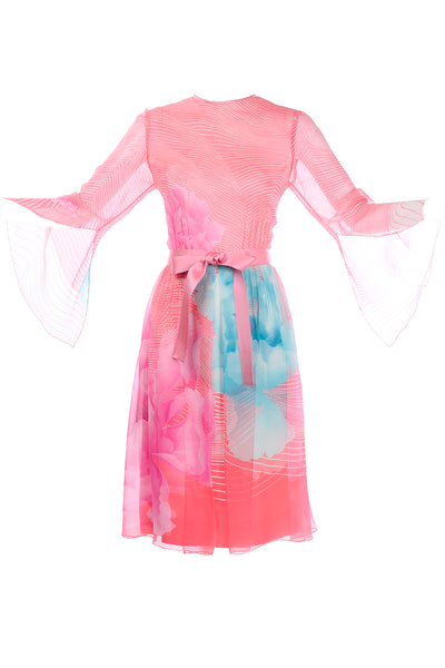 Hanae Mori 1970s Butterfly Sleeve Floral Dress
