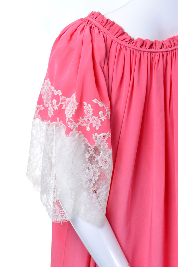 1960's Pink Vintage Peignoir Set Bed Jacket Lace Detail