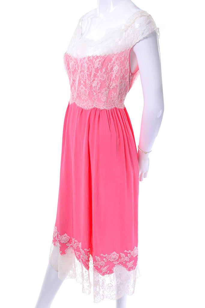 1960's Hannaux Pink Silk and Lace Vintage 1960's Pink Vintage Negligee
