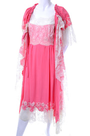 1960's Pink Lace Vintage Peignoir Set