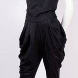 Vintage 1980's black jumpsuit with gathered hips and drop crotch