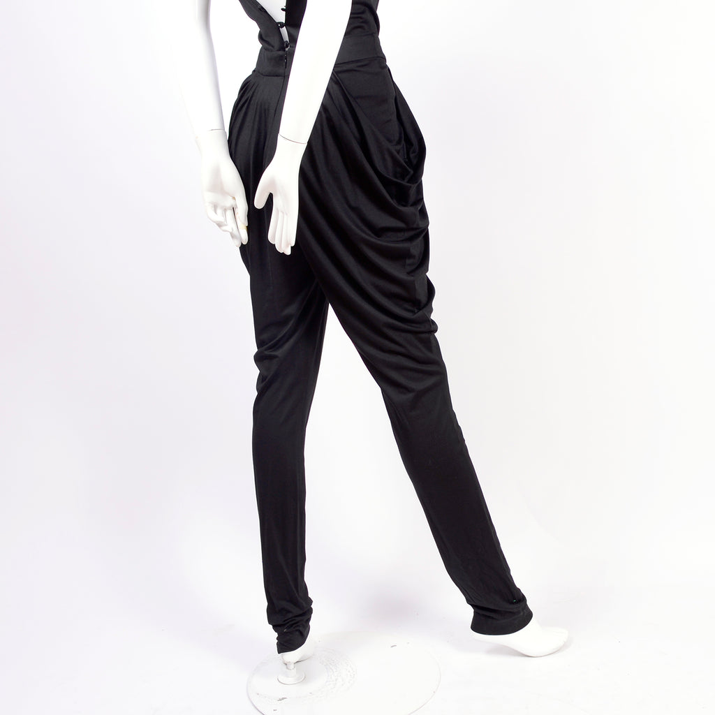 Draped leg harem jumpsuit with dropped crotch from 1980's
