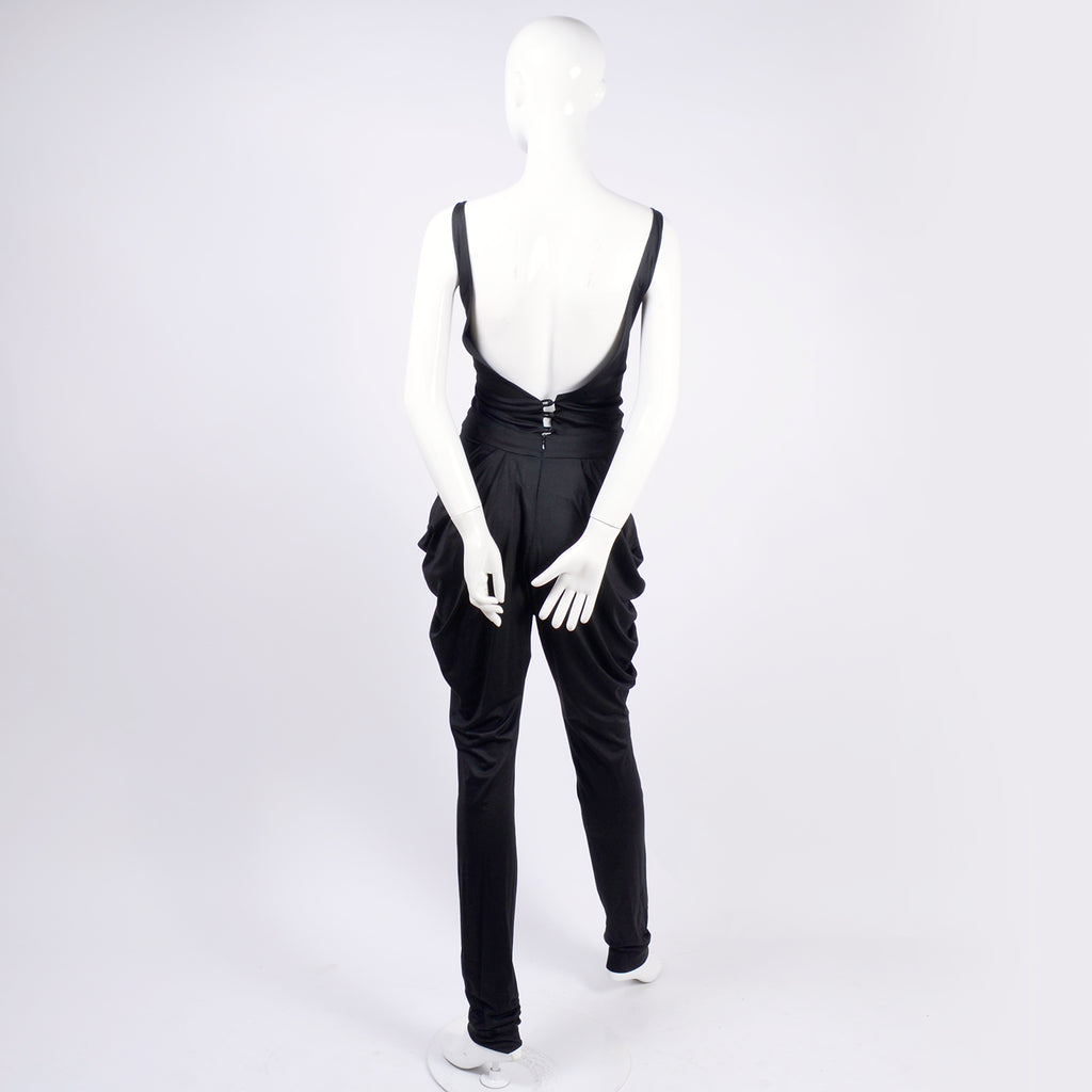 Low back vintage jumpsuit with draping hips