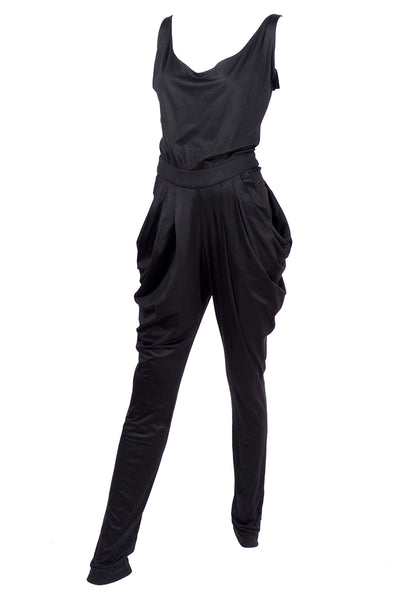 1980s black draping jumpsuit
