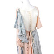 Harry Collins Edwardian Pink & Blue Vintage Dress w/ Mother of Pearl Buttons