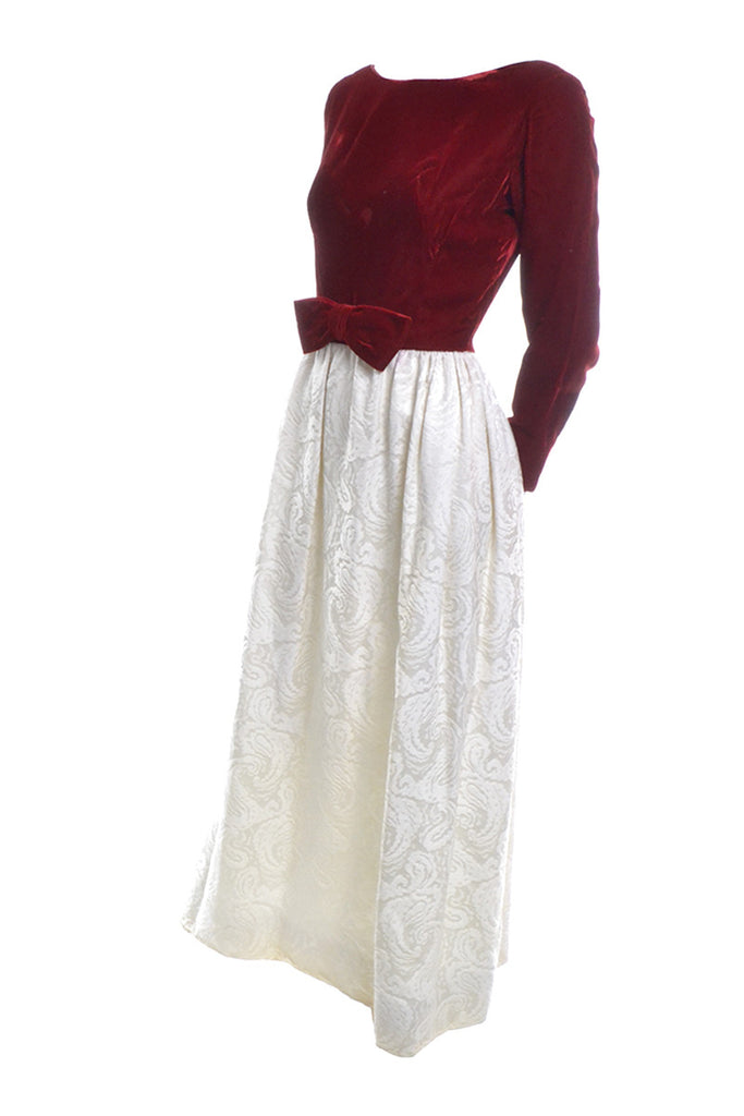 1960's Harry Kaiser Red Velvet and Ivory Vintage Dress