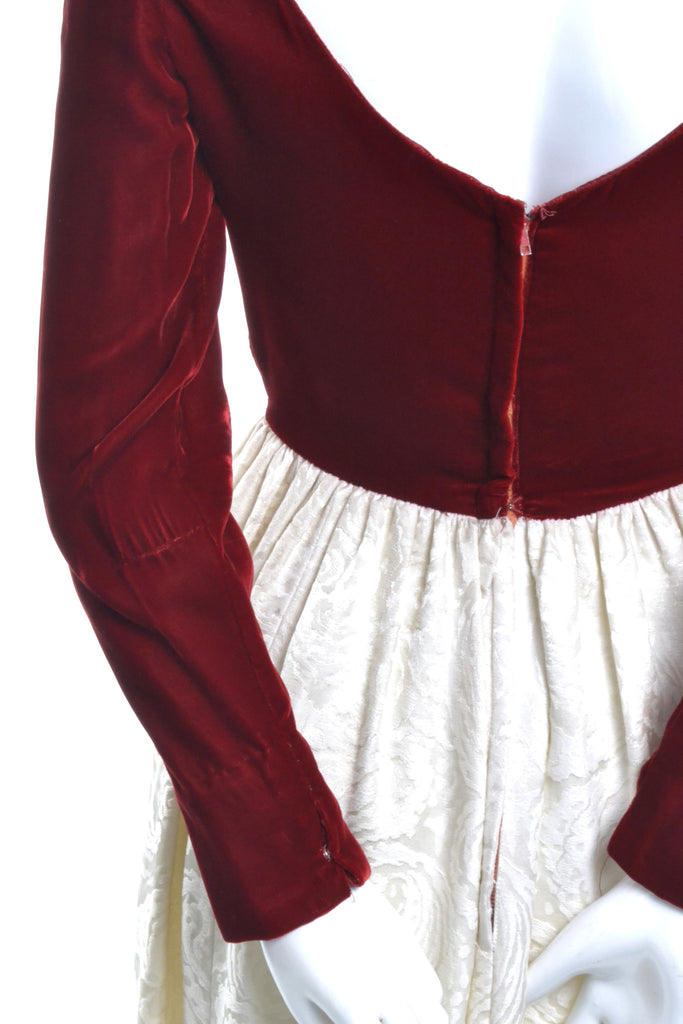 Red Velvet and Ivory Satin Jacquard Vintage Dress