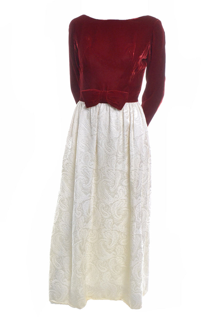 60's Harry Kaiser Red Velvet and Ivory Satin Jacquard Dress