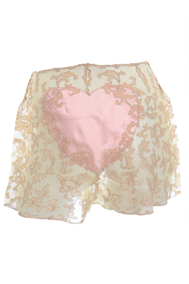 1930s Lace and Silk Heart Tap Pants