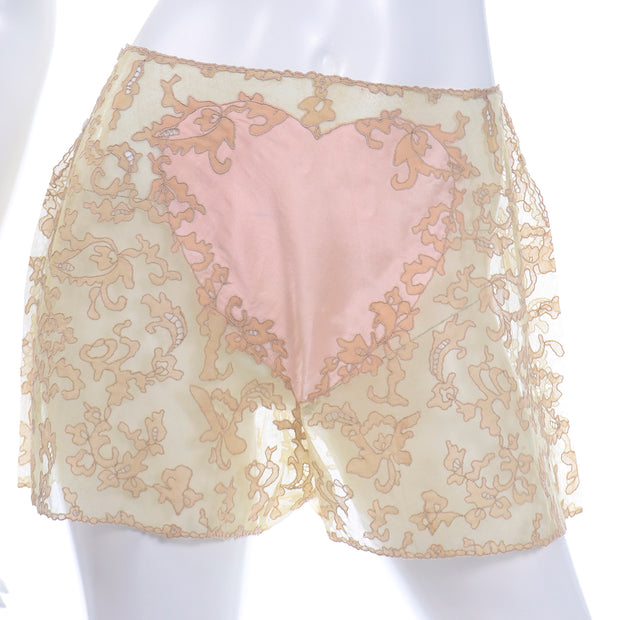 1930s RARE Pink Silk Heart and Lace Vintage Tap Pants