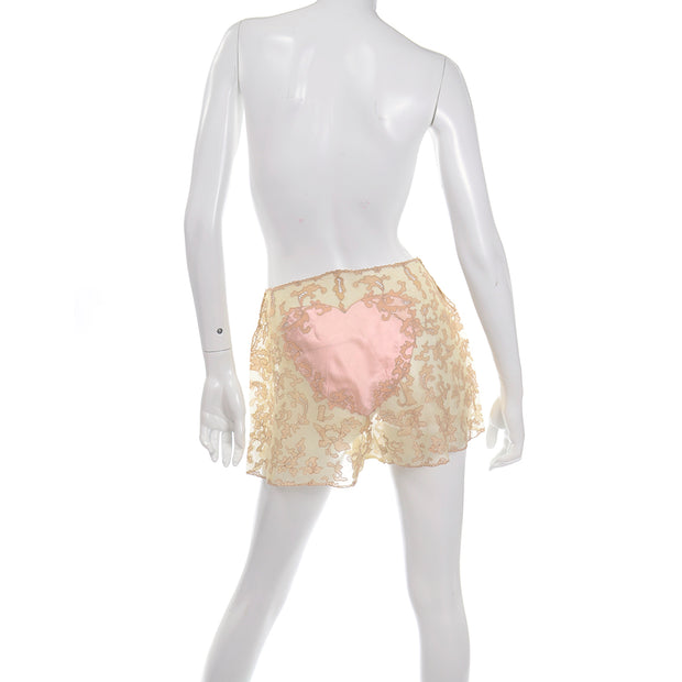 1930's Silk Heart Tap Shorts with Lace
