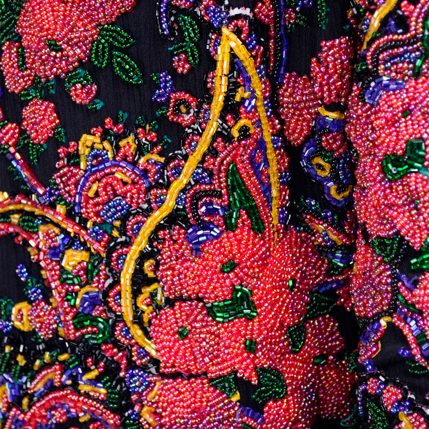 Rare Spaghetti of London Label Heavily Beaded Vintage Evening Jacket Paisley Floral