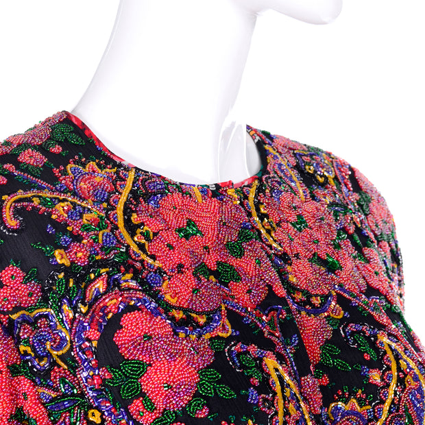 Rare Spaghetti of London Label Heavily Beaded Vintage Evening Jacket Floral Paisley