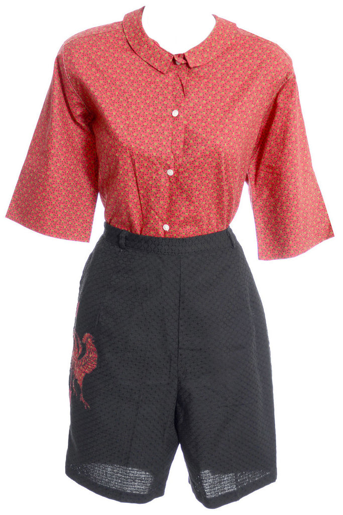 Heritage 2 piece vintage shorts blouse rooster